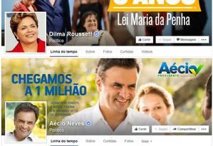 Candidatos mantém páginas ativas no Facebook Foto: Reprodução / Facebook
