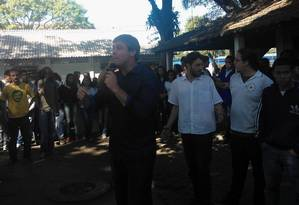 Lindbergh Farias discursa para estudantes na Faetec de Marechal Hermes Foto: Cássio Brun