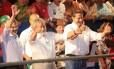 Eduardo Campos participa de evento de campanha ao lado do então presidente Lula