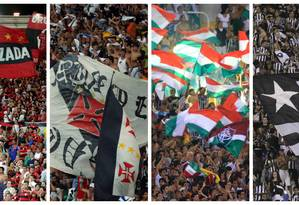 Torcidas de Flamengo, Vasco, Fluminense e Botafogo: Foto: Agência O Globo
