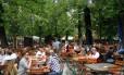 O 'biergärten' Augustinier, um dos mais populares de Munique, na Alemanha