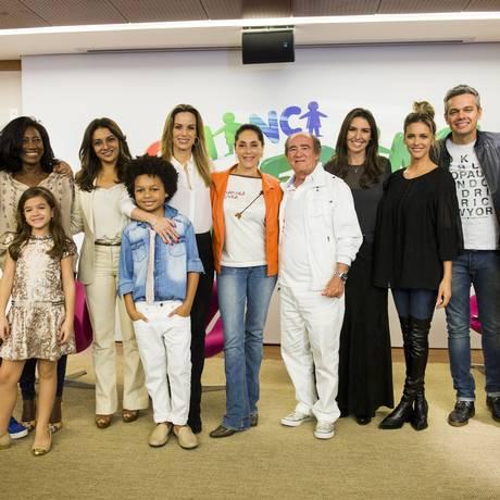 """Elenco e diretores na coletiva do """"Criança esperança"""" Foto: TV Globo/João Miguel Júnior"""
