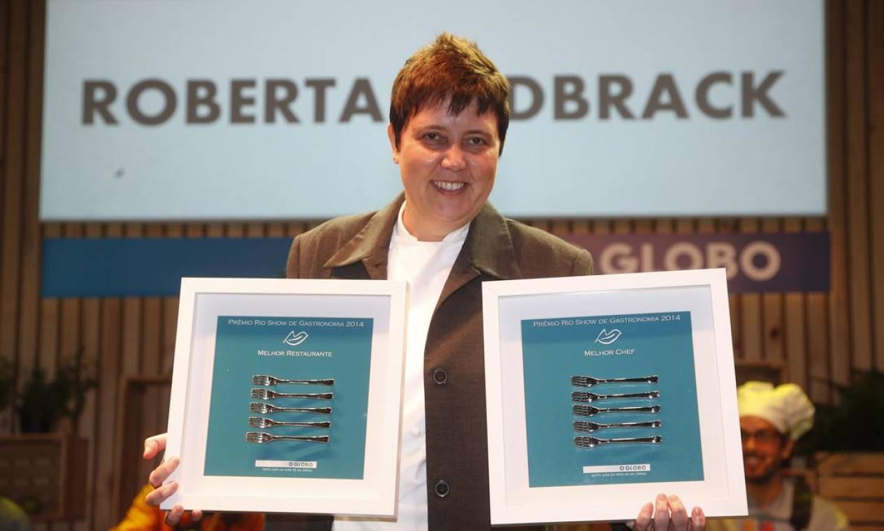 Roberta Sudbrack ganhou dois prêmios: o de melhor chef e melhor restaurante Foto: Marcelo Carnaval/O Globo