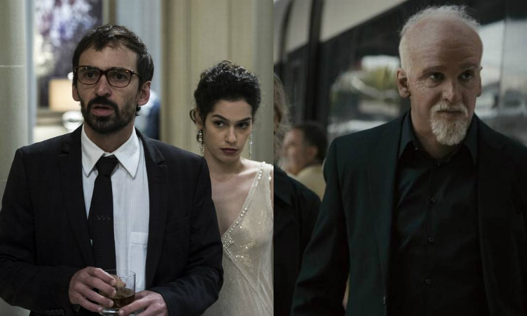 Julio Andrade em 'Não pare na pista', como Paulo Coelho (direita), e em 'O rebu' Foto: Montagem / Divulgação