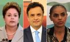 Montagem com os candidatos Dilma Rousseff (PT), Aécio Neves (PSDB) e Marina Silva (PSB) Foto: Editoria de Arte