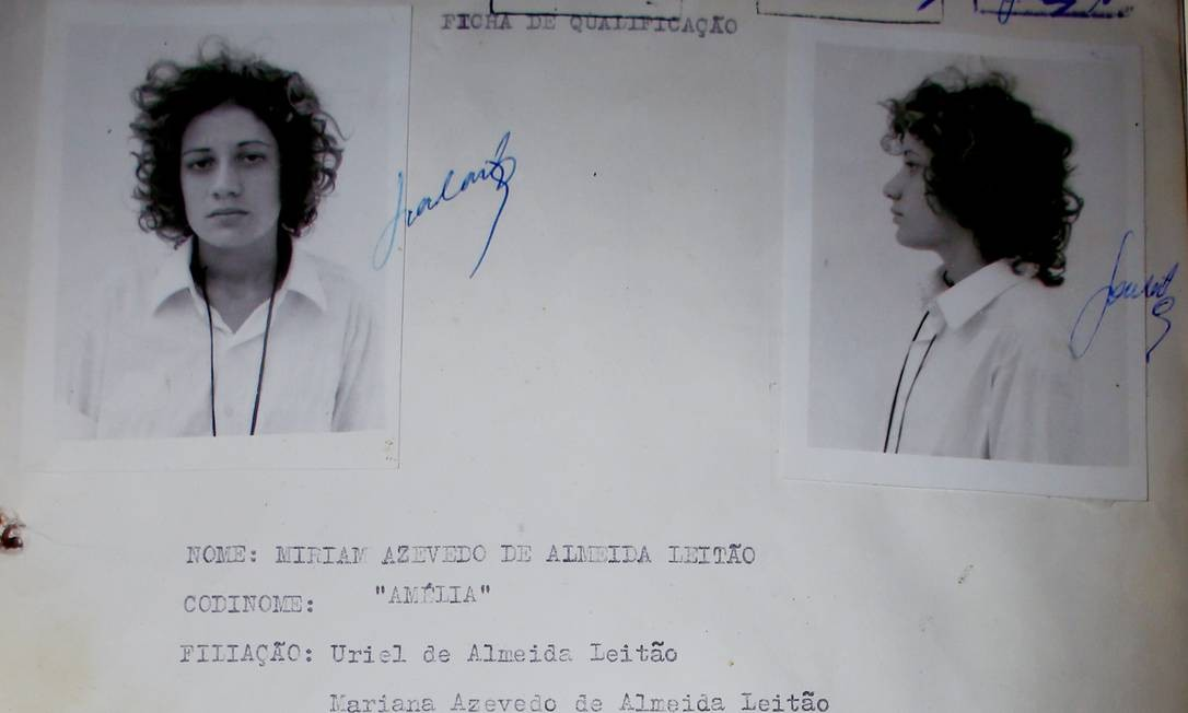 Ficha de Miriam Leitão (ou Amélia) quando foi presa, em 1972 Foto: Matheus Leitão / Arquivo pessoal