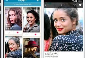 """Happn: um app de namoro """"local"""". Foto: Reprodução"""