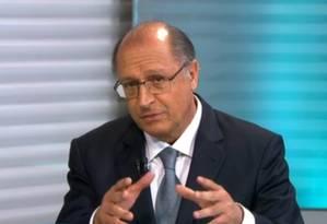 Em entrevista ao SPTV, Alckmin volta a culpar seca pela crise atual de água e diz que estado reduziu pela metade dependência do Cantareira Foto: Reprodução/TV Globo
