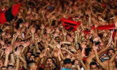 Os 40 mil torcedores do Flamengo no Maracanã apoiaram o time todo o tempo na vitória por 2 a 1 sobre o Atlético-MG Foto: Alexandre Cassiano / Agência O Globo