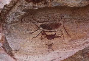 Desenho de veados deixado em pedra do parque nacional Foto: Efrém Ribeiro / Agência O Globo