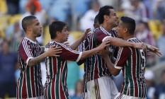 Jogadores do Fluminense comemoram o gol de Cícero sobre o Sport Foto: Guito Moreto / Agência O Globo