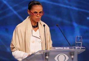 A candidata do PSB, Marina Silva: desempenho no Ibope faz partido se preocupar com governabilidade Foto: Fernando Donasci / O Globo