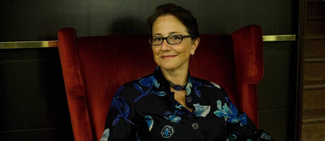 A filósofa francesa Isabelle Delpla fala sobre violência e paixão em evento na Biblioteca Nacional Foto: Guito Moreto / Agência O Globo