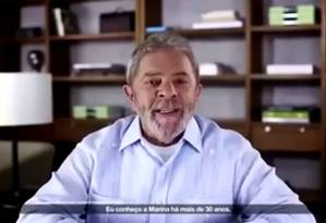 Lula, em vídeo, pede votos para Marina Foto: Reprodução