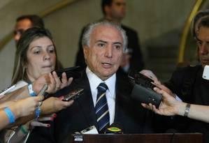O vice-presidente Michel Temer pregou respeito às instituições Foto: Michel Filho / Agência O Globo