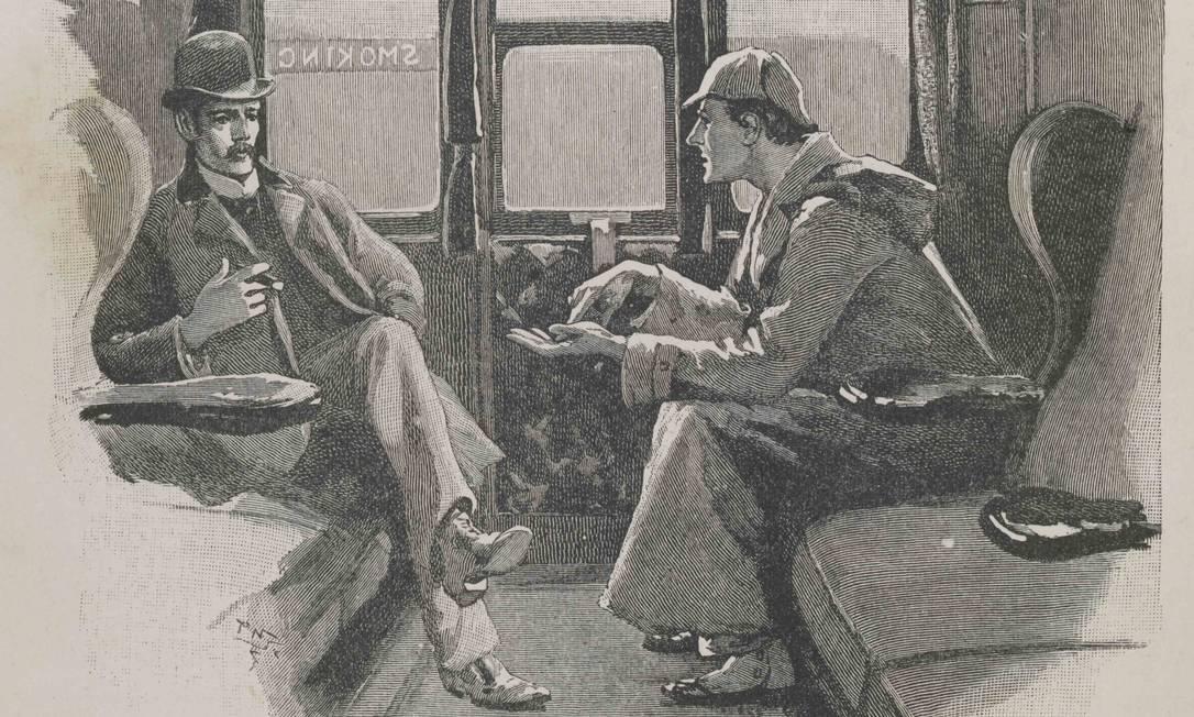 Ilustração de história de Sherlock Holmes na revista 'Strand', que publicou Sir Arthur Conan Doyle Foto: Museu de Londres / Divulgação