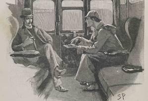 Ilustração de história do detetive na revista Strand, que publicou Sir Arthur Conan Doyle Foto: Museu de Londres / Divulgação
