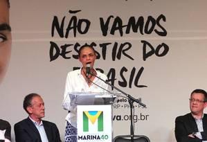 Marina, no discurso em São Paulo: é hora de uma 'professora dos seringais' chegar ao poder Foto: Fernando Donasci / Agência O Globo