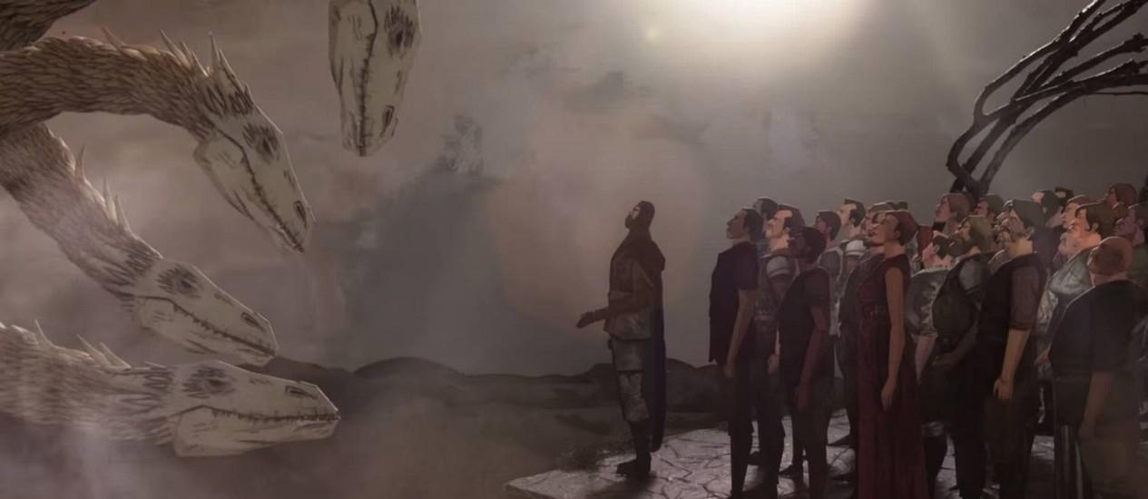 Bicho de quatro cabeças: Em cena do filme, grupo decide que o melhor é cessar a violência contra o dragão que simboliza as drogas Foto: Reprodução