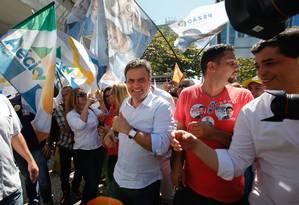 Aécio Neves, vai intensificar sua agenda no Rio para tentar estancar o avanço da adversária Marina Silva Foto: Alexandre Cassiano / Agência O Globo