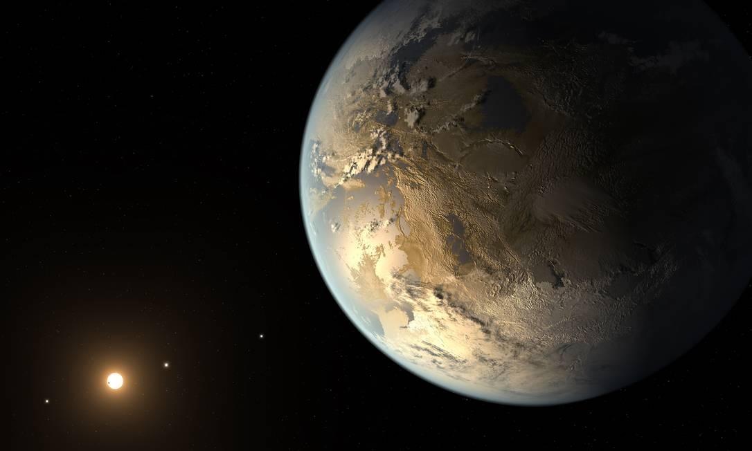 Ilustração mostra o planeta extrassolar Kepler 186f, um dos que podem ser mais parecidos com a Terra entre os cerca de 1,5 mil cuja existência já foi confirmada Foto: NASA/JPL-Caltech/T. Pyle