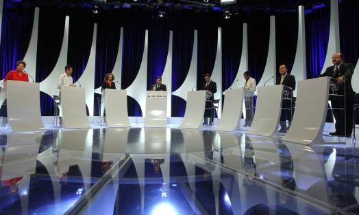 Com a participação de sete candidatos à Presidência, debate durou quase duas horas Foto: Fernando Donasci / Agência O Globo