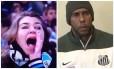 A torcedora Patrícia Moreira, flagrada xingando Aranha de 'macaco', e o goleiro do Santos, vítima de injúria racial