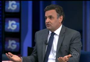 O candidato do PSDB à Presidência, Aécio Neves, em entrevista ao Jornal da Globo Foto: Reprodução/TV Globo