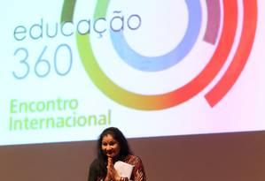 A educadora indiana Shukla Bose na abertura do evento 'Educação 360' Foto: Guilherme Pinto / Agência O Globo