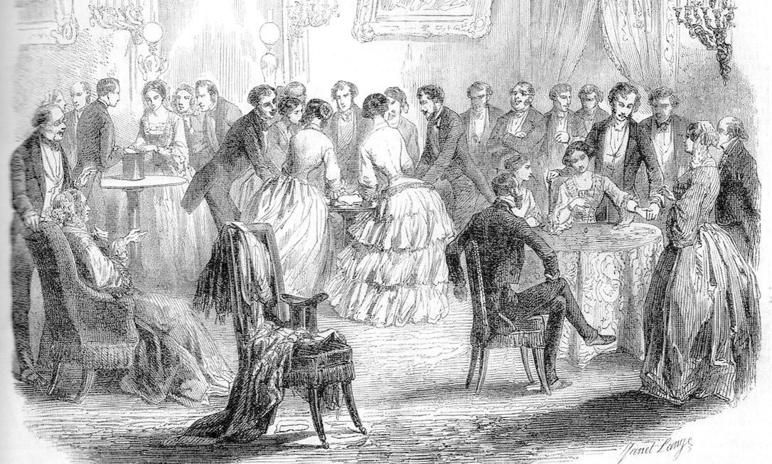 Mesas volantes: quadro de Daniel Lange de 1853 mostra reuniões que se tornaram fenômeno, no século XIX, entre pessoas que desejavam se comunicar com espíritos Foto: / Reprodução da internet/ Wikimedia Commons
