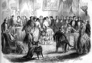 Mesas volantes: quadro de Daniel Lange de 1853 mostra reuniões que se tornaram fenômeno, no século XIX, entre pessoas que desejavam se comunicar com espíritos Foto: Reprodução da internet/ Wikimedia Commons