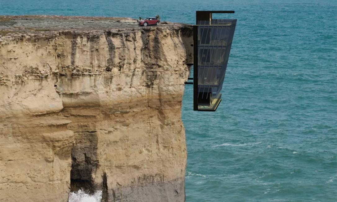Pinos de aço sustentam casa sobre penhasco na Austrália Foto: Modscape