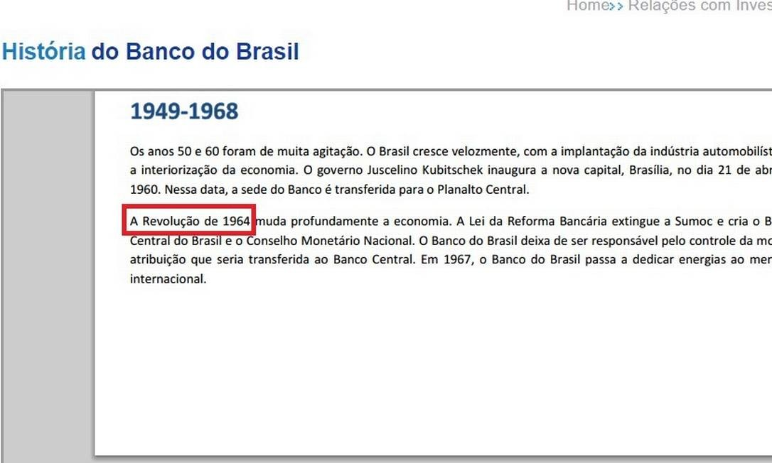 Site do Banco do Brasil classifica golpe de 64 como Revolução