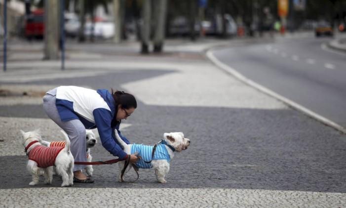 Mulher com três cães bem agasalhados na Praia do Leme Foto: Laura Marques / Agência O Globo