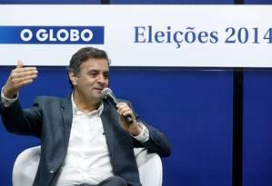 Aécio Neves, do PSDB, participa de sabatina promovida pelo jornal O GLOBO com candidatos à presidência Foto: Ivo Gonzalez/O Globo