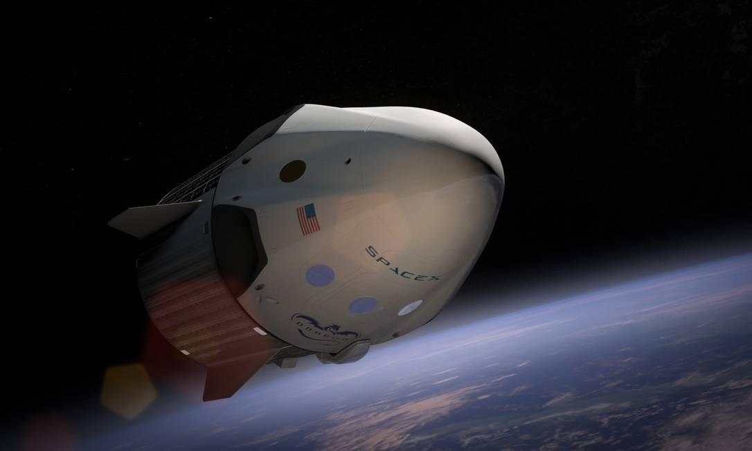 A espaçonave Dragon, da SpaceX, levará astronautas para a Estação Espacial Internacional Foto: / DIVULGAÇÃO