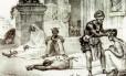 Pintura de Debret representa escravos enfermos recebendo cuidados médicos nos tempos do Brasil Imperial. Navios negreiros trouxeram tipos da hepatite B