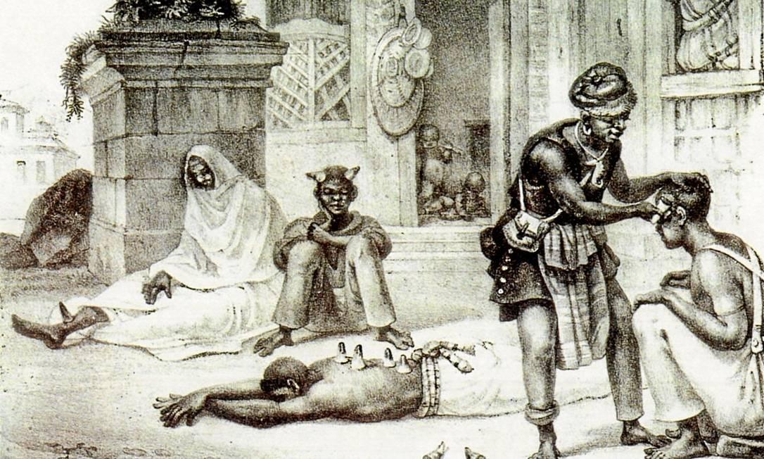 Pintura de Debret representa escravos enfermos recebendo cuidados médicos nos tempos do Brasil Imperial. Navios negreiros trouxeram tipos da hepatite B Foto: / Reprodução/Debret