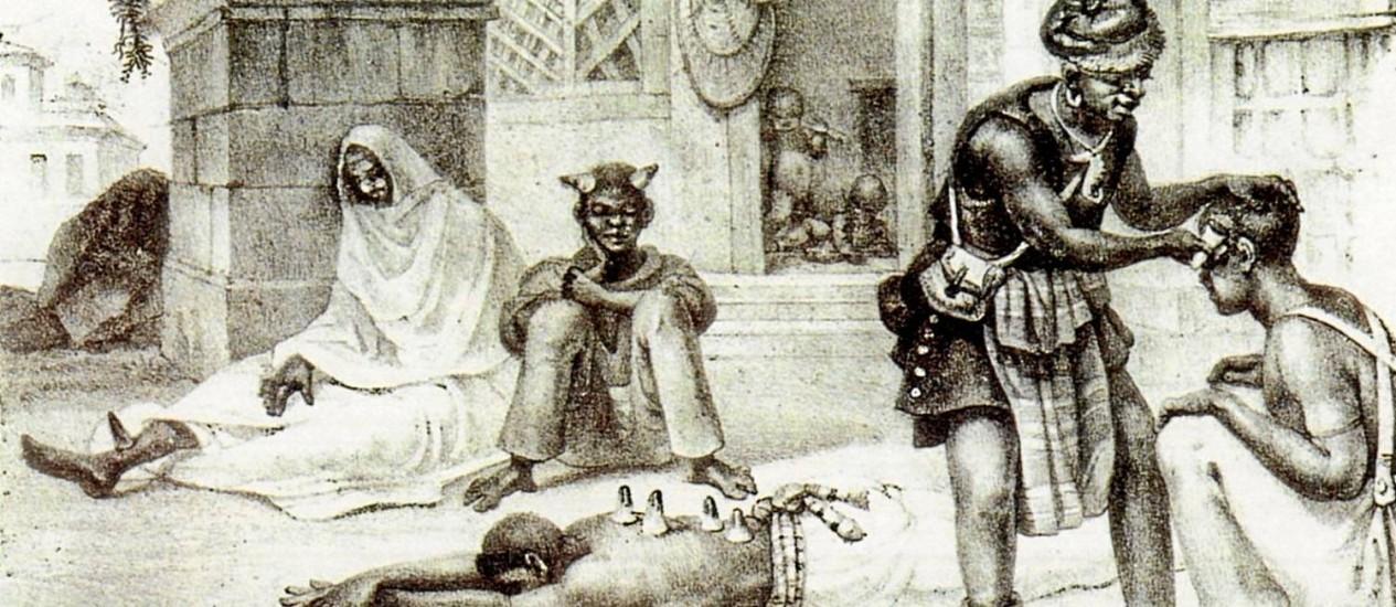 Pintura de Debret representa escravos enfermos recebendo cuidados médicos nos tempos do Brasil Imperial. Navios negreiros trouxeram tipos da hepatite B Foto: Reprodução/Debret