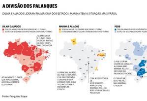 Infográfico: a distribuição dos palanques de Dilma Foto: O Globo
