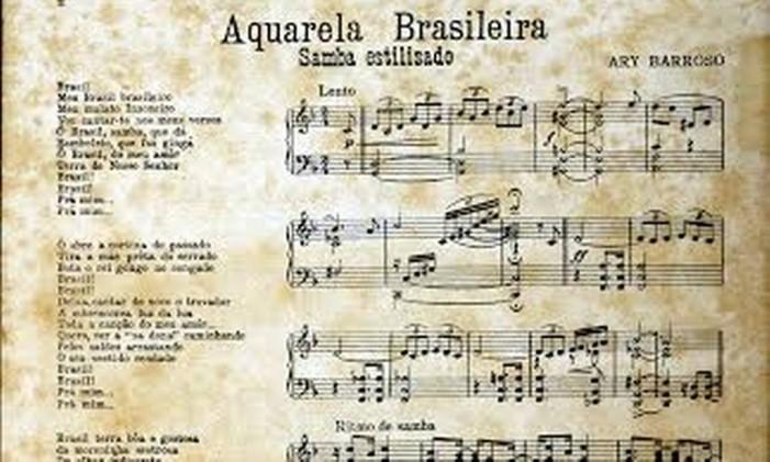 Partitura da música 'Aquarela brasileira' Foto: Divulgação / Museu da Imagem e do Som