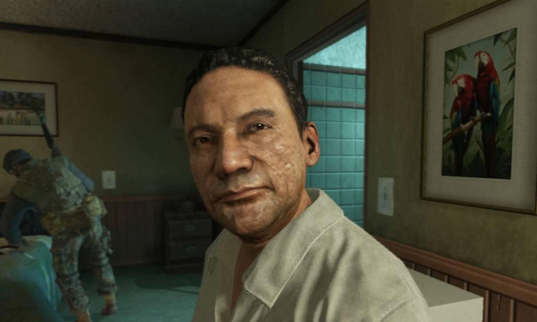 """O ex-ditador panamenho Manuel Noriega como retratado no jogo """"Call of Duty: Black Ops 2"""": processo contra a produtora Activision Foto: Uncredited / AP"""