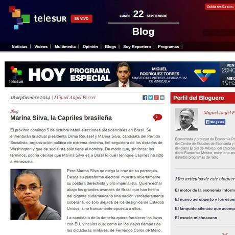 Telesur publica artigo em que ex-senadora é tachada de extrema direita Foto: Reprodução/ Internet