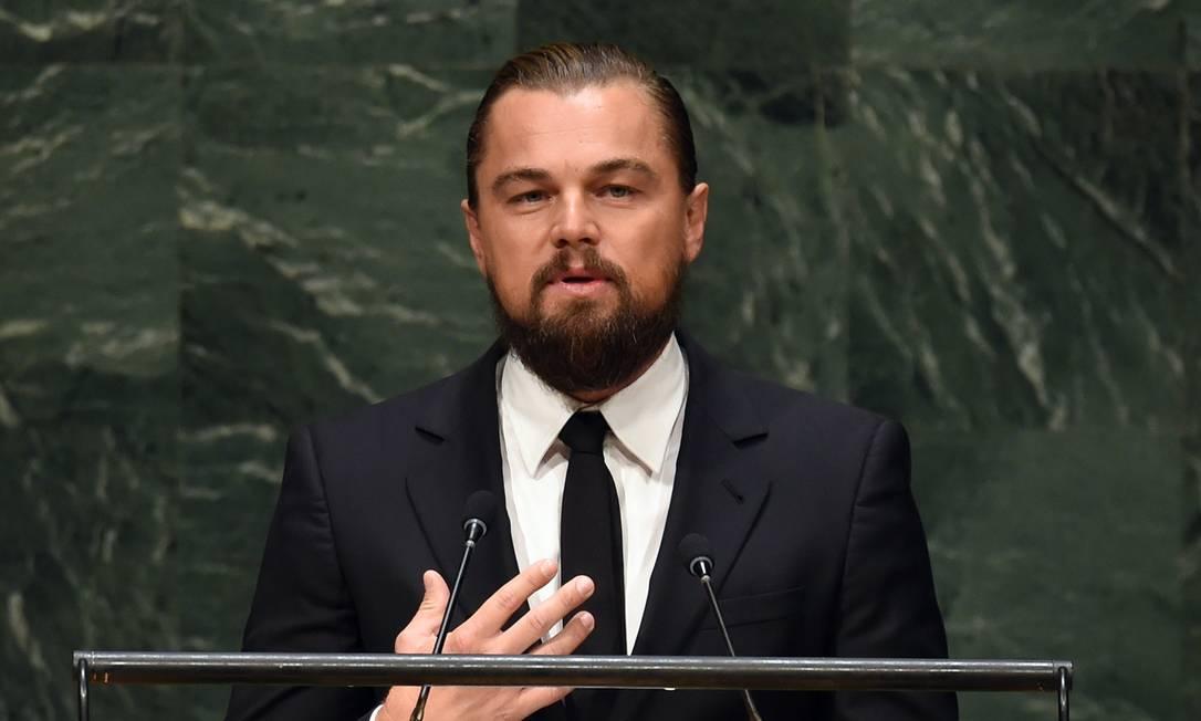 Leonardo DiCaprio durante o discurso na ONU nesta terça-feira Foto: TIMOTHY A. CLARY / AFP