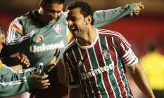 Fred comemora o primeiro gol do Fluminense na vitória sobre o São Paulo Foto: ALEX SILVA / Photocamera