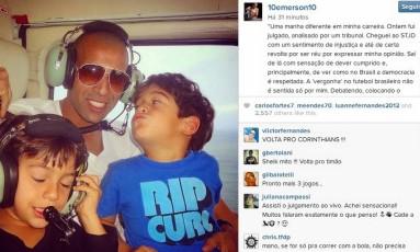 Emerson comenta no Instagram sobre o julgamento no STJD e bota foto com os filhos Foto: Reprodução