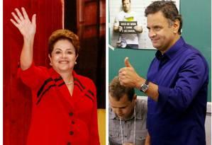 Os candidatos à Presidência da República Dilma Rousseff (PT), Aécio Neves (PSDB) e Marina Silva (PSB) Foto: Agência O Globo e divulgação