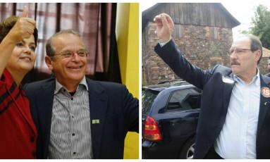 Tarso Genro (PT), ao lado da presidente Dilma Roussef, e José Ivo Sartori (PMDB) durante votação no Rio Grande do Sul. Os dois vão disputar o segundo turno na eleição para governador Foto: Fotos: Lucas Uebel/AFP e Roni Rigon/Agência RBS/Folhapress