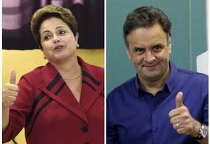 Dilma Rousseff (PT) e Aécio Neves (PSDB) vão disputar o segundo turno das eleições presidenciais Foto: O GLOBO