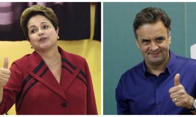 Dilma Rousseff (PT) e Aécio Neves (PSDB): decisão nas urnas no domingo Foto: O GLOBO